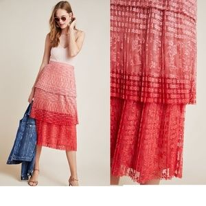 new Anthropologie Brighton Tiered Midi Skirt